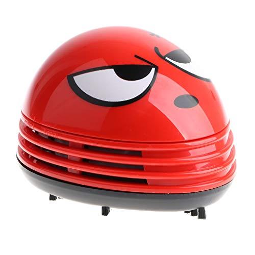 Great Features Of E ECSEM Cute Portable Beetle Ladybug Cartoon Mini Desktop Vacuum Desk Dust Cleaner...