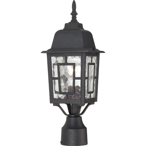 Nuvo Lighting 60/4929 Banyon One Light Post Lantern 100 Watt A19 Max. Clear Water Glass Textured Black Outdoor Fixture