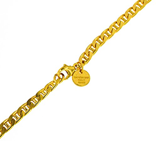 Steg-Panzer-Kette Gold Doublé 5 mm 55 cm Halskette Gold-Kette Herren-Kette Damen Geschenk Schmuck ab Fabrik Italien tendenze STPGYs5fba-55v