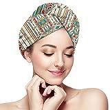 BCLYPBO Adorno geométrico folclore para toalla de pelo de cerámica, gorro de secado del cabello, toalla de secado del cabello para mujeres, turbante con diseño de botón