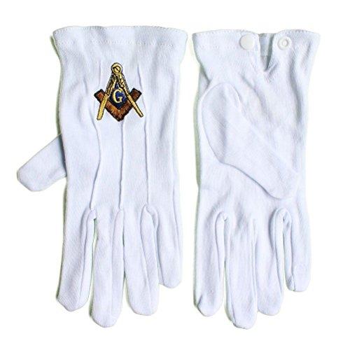 Freimaurer-Handschuhe, 100 % Baumwolle, weich, Weiß