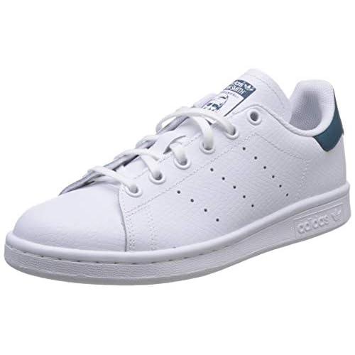 adidas Stan Smith J, Scarpe da Ginnastica Unisex Bambini, Bianco (Ftwr White/Ftwr White/Tech Mineral Ftwr White/Ftwr White/Tech Mineral), 36 2/3 EU