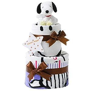 おむつケーキ研究所 スヌーピー(snoopy) 出産祝い 2段 おむつケーキ 身長計付きバスタオル ホワイト ぬいぐるみ 女の子 男の子 男女兼用 ピーナッツ PEANUTS (パンパーステープタイプSサイズ) 白