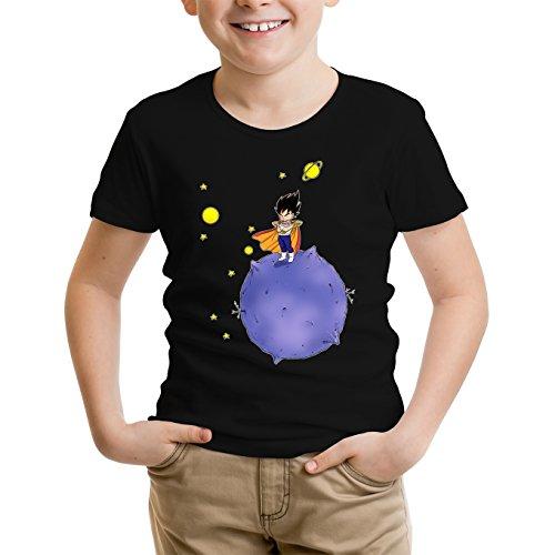 Okiwoki T-Shirt Enfant Noir Dragon Ball Z - DBZ parodique Végéta : Le Petit Prince Saiyan (Parodie Dragon Ball Z - DBZ)