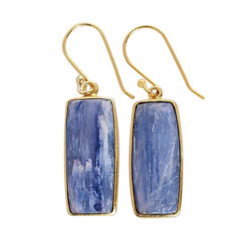 Pendientes de gancho hechos a mano en oro amarillo con cianita azul natural, plata de ley, joyería bohemia, joyería para niñas, pendientes de gota FSJ-4551