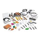 TikTakToo Juego de cocina para niños, 59 piezas, XXL, con luz y sonido, utensilios de cocina para niños, juego de barbacoa, sartén, olla de cocina para niños