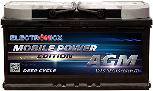 Electronicx Bateria Solar Coche AGM 120Ah 12V Bateria de Arranque de Gel MOBILE EDITION Caravana Autocaravana Camper Barco ideal para Interiores Car Battery Ciclo Profundo Resistente a las Vibraciones