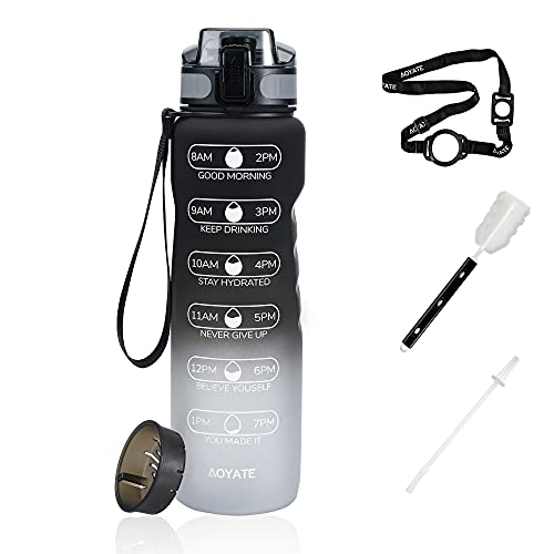 AOYATE-EU Botella de agua al aire libre,botella deportiva con marcador de tiempo,botella de agua/cepillo de limpieza/pajita/correa trasera y filtro,sin BPA,escuela/fitness/bicicleta/exterior.1000 ml