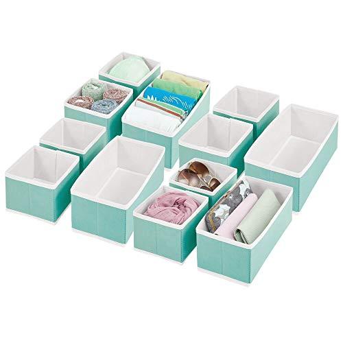 mDesign Soft Fabric Dresser Drawer and Closet Storage Organizer for Bedroom Closet Shelves Drawers - ClothingAccessory Organizing Bins - Set of 12 in 2 Sizes - TurquoiseWhite