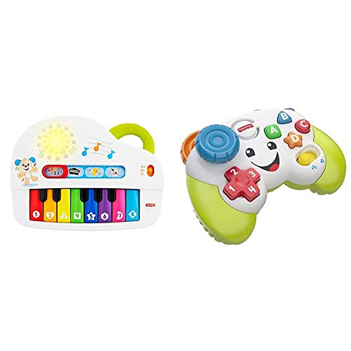 Fisher-Price GFK04 Laugh and Learn Silly Sounds Light-Up Piano, Infant Toy, Multicolour & FWG12 Game and Learn Controller, Teaching First Words, Letters, Numbers, Colours and Shapes, 6 Months
