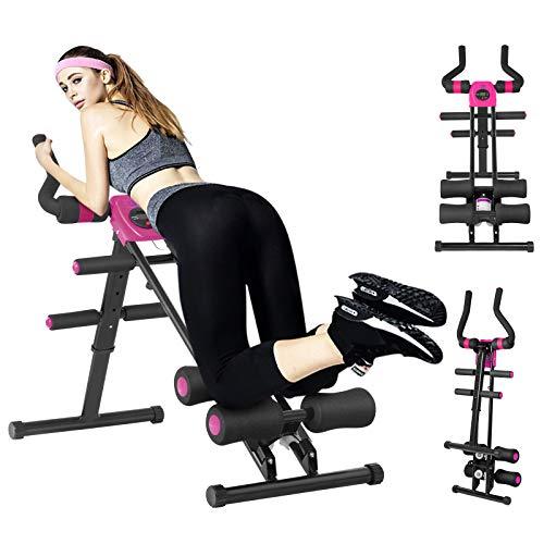 Bauchtrainer, Bauchtrainer mit 5 stufigem Widerstand, Rückentrainer mit LCD-Display, Belastung bis 100kg, Bauchmuskeltrainer klappbar für Zuhause (Rosa)