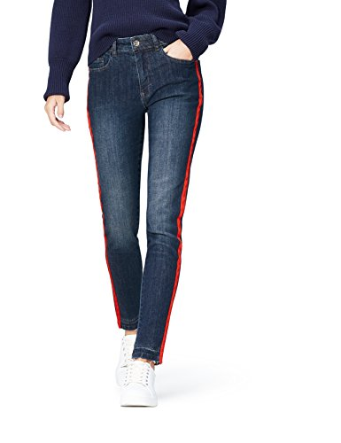 Amazon-Marke: find. Damen Straight Cut-Jeans mit mittlerem Bund, Blau (Dark Blue), 36W / 32L, Label: 36W / 32L