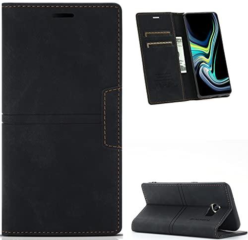 Hancda Funda para Samsung Galaxy S7, funda de piel tipo libro con tarjetero y cierre magnético, color negro