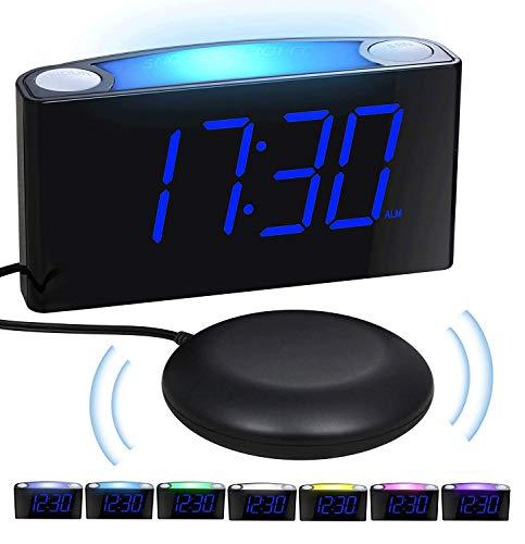 Reloj Despertador por vibración con agitador de Cama, Pantalla Regulable de 7 '', 7 Luces nocturnas en Color, 12/24, configuración de Respaldo de batería, Despertador Grande para Dormitorio, Cojines