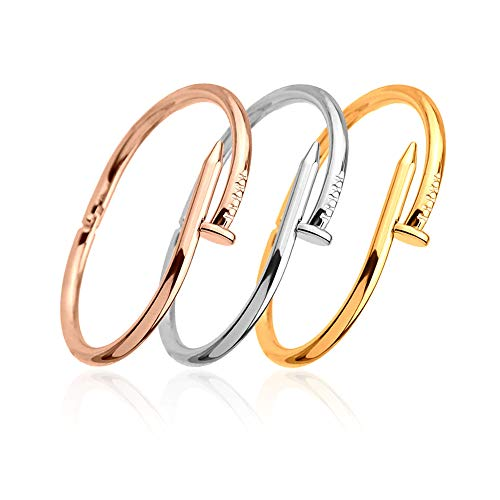 ETCBUYS Titan Edelstahl Nails Armband - Unisex Armreifen Punk für Frauen Männer Beste Geschenk Schmuck - Nail Love Luxus Kreatives Design Armband - 4 Stk