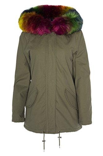 Dappere ziel Womens Panter Faux Bont Hooded Warm Winter Parka Jas