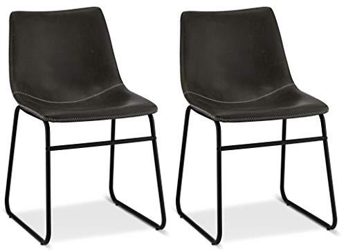 Ibbe Design 2er Set Grau Kunstleder Esszimmerstühle Vintage Lounge Industrial Küchenstühle Abel, Schwarz Metallgestell, 46x54x78 cm
