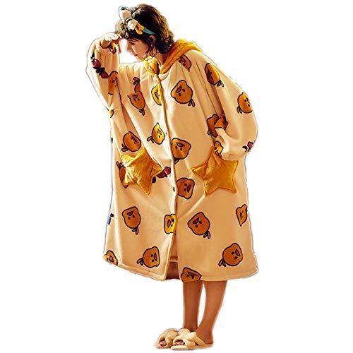 JXILY Pijama de animal para mujer, con diseño de pato de dibujos animados, albornoces, ropa de hogar con...