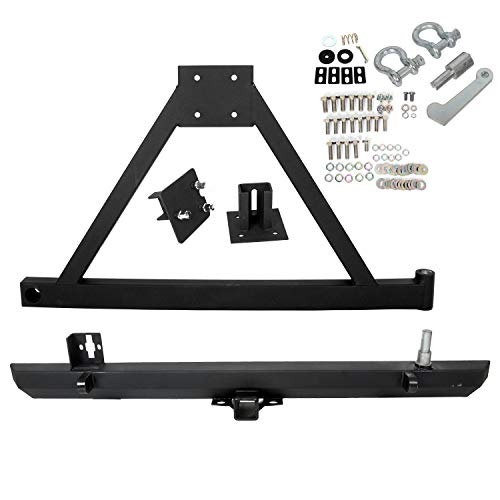 Rear Bumper Off-Road W/Tire Carrier&D-Rings Compatible With Jeep Wrangler TJ YJ LJ 1987-2006