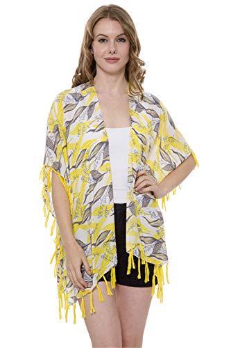 HelloNita Damen Sommer Lily of The Valley Flower Kimono Überzug Bikini Cardigan Bademode Strandkleid Quasten - Gelb - Einheitsgröße