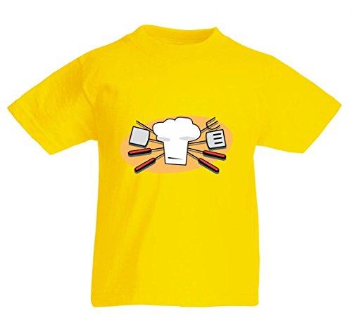 Camiseta de manga corta para barbacoa, cocina, cocina, barbacoa, herramientas, barbacoa, cocina, espátula Chef, sombrero, símbolo, color para hombre, mujer, niños, 104 – 5 XL amarillo Para Hombre Talla : X-Large