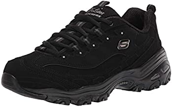 Skechers womens Dlites-play Fashion Sneaker, Black, 9 US