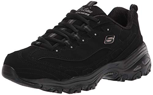 Skechers Sport Women's D'Lites Play on Memory Foam Lace-up Sneaker,Black/Black,7.5 W US