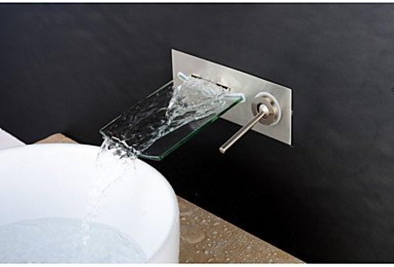 Zeitgenssischer 3-Loch-Wasserfall mit Keramikventil Ein 2-Loch-Knopf für gebürstetes Nickel, Waschbecken für Wasserhahn
