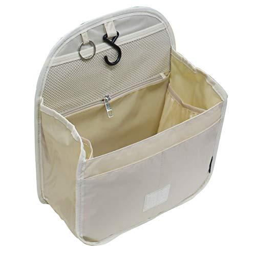バッグインバッグ リュックインバッグ 軽量 縦型 大容量 キーリング小さめ 大きめ 整理 収納 バッグ メッシュ ポケット トラベルポーチ インナーバッグ リュック (L, ベージュ)