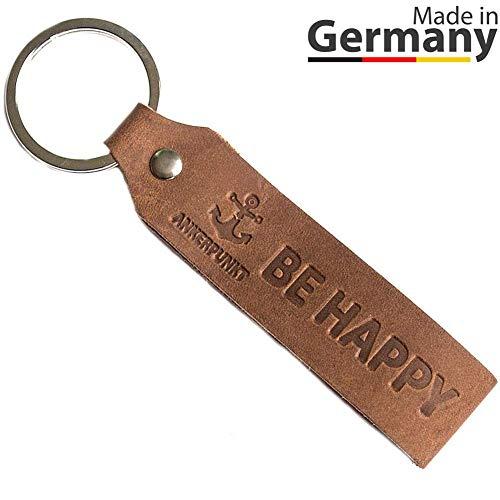 ANKERPUNKT Schlüsselanhänger Leder mit Gravur BE Happy - Geschenk für Frauen Männer, Geschenkidee zum Geburtstag, Jahrestag etc. - Made in Germany (Dunkelbraun) Used Look
