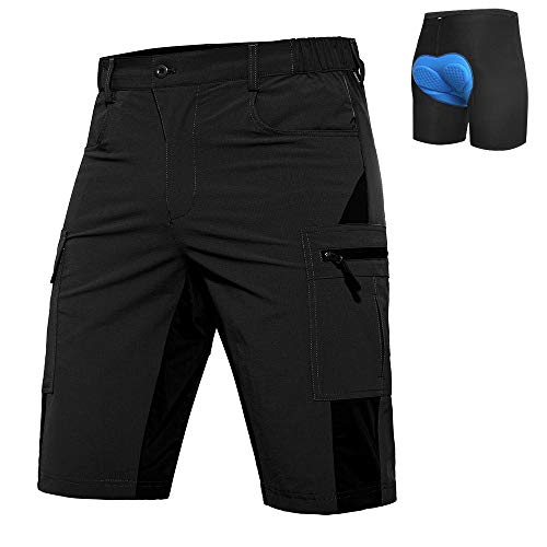 Vzteek Baggy Bike Cycling Shorts Mountain Bike Shorts with Padding (Black, L)