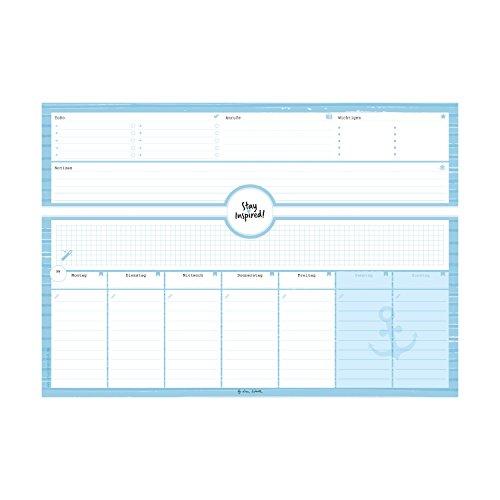Schreibtischunterlage in blau aus Papier mit 50 Blatt zum Abreißen – Hochwertige Schreibtischunterlage im Format DIN A3 Für Kinder und Erwachsene – ... Wochenplaner - Stay Inspired by Lisa Wirth