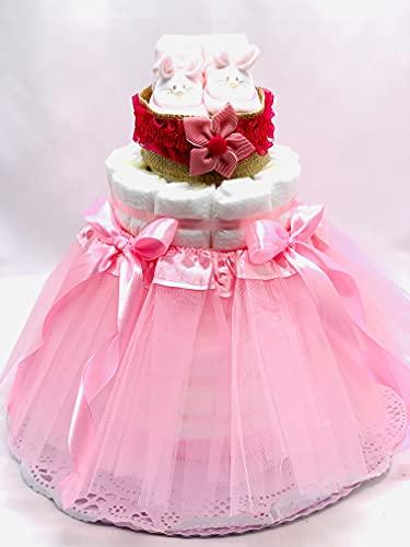 Tarta de pañales DODOT 2 pisos niña - Tarta Bailarina con diadema y patucos - Regalo original para recién nacido con DEDICATORIA incluida