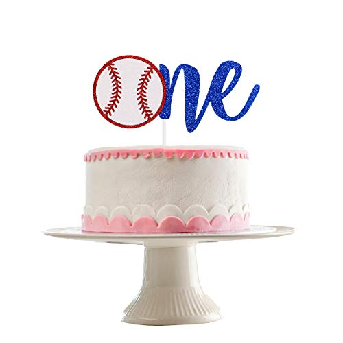 Baseball One Cake Topper- Glitter, Baseball 1st Birthday Decorations, Baseball 1st Birthday Cake Topper, 1st Birthday Cake Topper for Boy