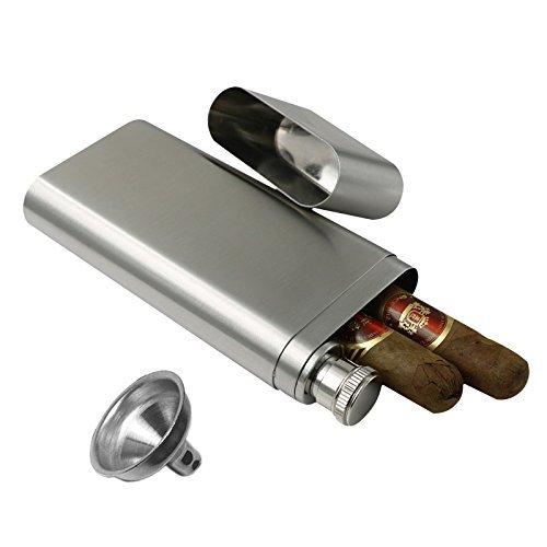 OFKPO Praktische Zigarren Tube aus Edelstahl,geeignet für 2 Zigarren(Silber)
