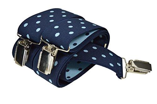 Olata Unisexe Bretelles entièrement réglable avec 3 Clips, Point de Polka Motif - 3.5cm. Bleu/Turquoise