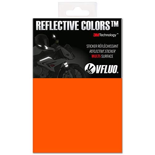 VFLUO 3M Reflective Colors™, Universal DIY Kit, reflektierende Aufkleber für Motorradhelme, Motorrad, Fahrrad, 3M Technology™, 10 x 15 cm Reflektoren Blatt, Orange