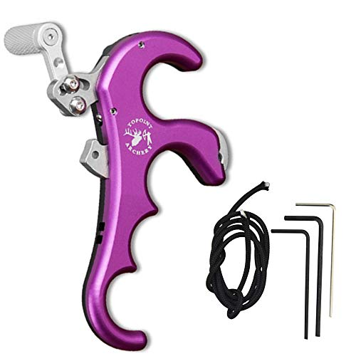 NMCPY Bow Release 4 Thumb Trigger Archery Release Aid Compound Bow Accessory Hunting Finger Release Trigger (Purple)