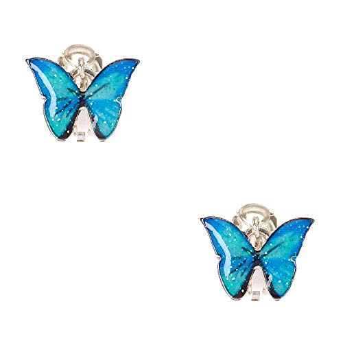 Claire's Silver Glitter Butterfly Clip On Earrings for Girls, Blue, 1 Pair