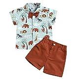 Borlai - Ropa de verano para bebé con estampado de animales, manga corta, para niños de 1 a 6 años Marrón marrón 2-3 Años