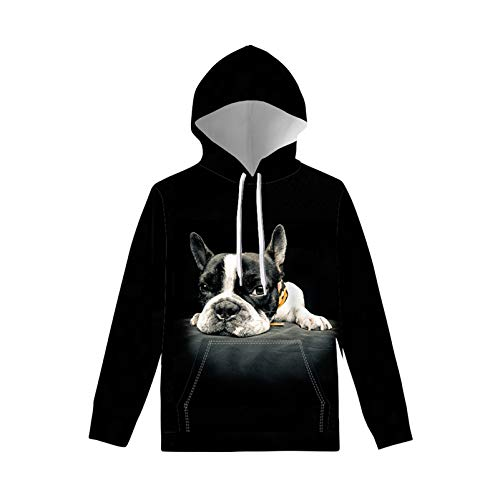 WELLFLYHOM Funny Hoodies for Teen Girls Boys Size 6 7 Drawstring Sweatshirts with Strings Kangaroo Pocket Long Sleeve Pullover Hooded with Design French Bulldog Black