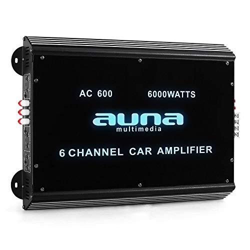 Auna W2-AC600 - Amplificatore per Auto, Pannello in Vetro Acrilico, Illuminazione LED Blu, 20 Hz a 20 kHz, 6000W Max, 6 Canali, 540W RMS, Carbone