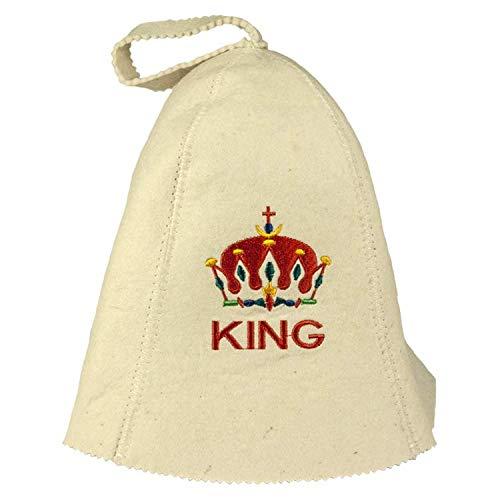 Saunahut mit Stickerei KING aus Filz (Filzkappe, Saunamütze)
