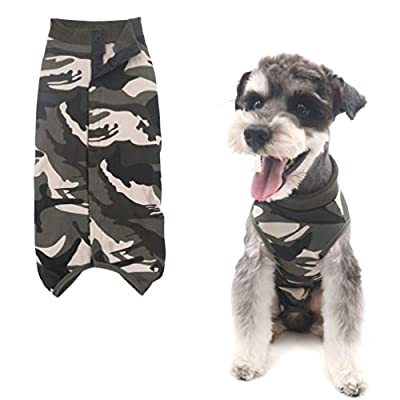 Due Felice Dog Professional Surgical Recovery Suit for Abdominal Wounds Skin Diseases, After Surgery Wear, E-Collar Alternative for Dogs, Home Indoor Pets Clothing Camouflage L