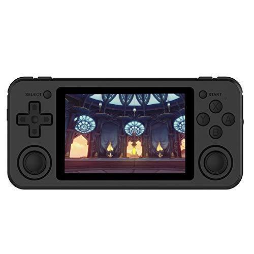 Retro-Spielekonsole, Handheld-Spielekonsole RG351P mit 3,5-Zoll-IPS-Bildschirm, 3500-mAh-Akku, Unterstützung des Open-Source-Systems mit HDMI-Ausgang Integrierte 2500 Classic-Spiele(64G Schwarz)