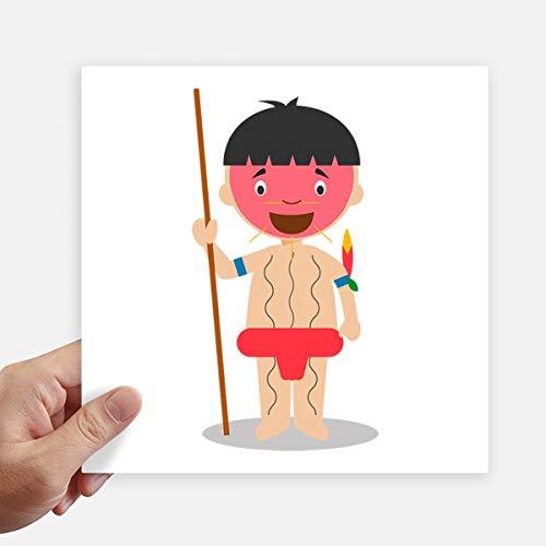DIYthinker Rojo Venezuela yanomami de Dibujos Animados Pegatinas Plaza 20cm Pared Maleta portátil...