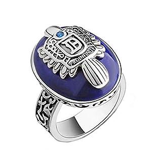 EVRYLON Herrenring Ring für Herren Blauer Stein Damon Salvatore Vampire Diaries Strahlend blau Strass Tagebuch eines vampirs Erleichterung Messen Blaue Ringgröße DE 59 (18.8)