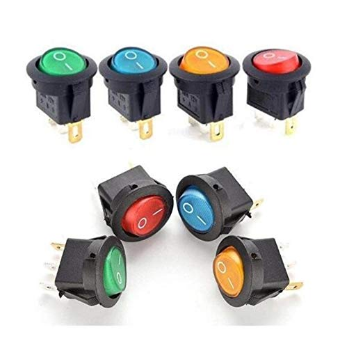 BJKKM 10 PCS 12V 220V LED illuminuted Interruptor basculante 20A 12V pulsador de botón Interruptor de Las Luces del Coche en la luz del Interruptor ON/Off Ronda para Coche camión Barco autoca