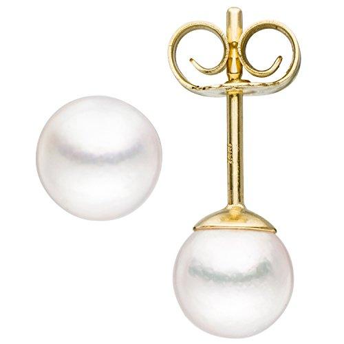 JOBO Damen-Ohrstecker aus 333 Gold mit Akoya-Perlen