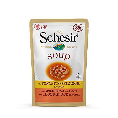 Schesir Soup, Cibo Umido per Gatti Adulti al Gusto Tonnetto Selvaggio e Papaya, Filetti in Salsa - Totale 1,7Kg (20 Buste da 85G)